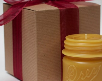 "Gift Wrapped - Beeswax Candle Collection - ""Drey Mason 1/2 Pint"" - by Pollen Arts"
