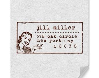 Custom Address Stamp, Self Ink Return Address Stamp, Self Inking Personalized Stamps, House Address Stamp, Wood Mounted Stamp, Retro Address