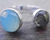 Aquamarine Black Rutilated Quartz Ring, Chalcedony Sterling Silver Ring, Aquamarine Chalcedony Quartz, Sterling Silver Stacking Ring