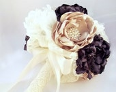 Handmade Fabric Bridal Bouquet in Plum Champagne and Ivory