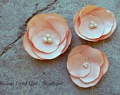 Peach Bridal Flower Hair Pins, Wedding Hair Accessory, Fascinator, Bobby Pins, Satin, Bridal Head Piece, Bobby Pin