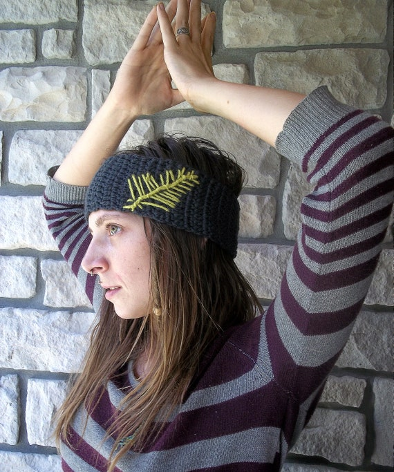 Reserved for Jennifer - Tribal Hippie Headband , black with light grey feather