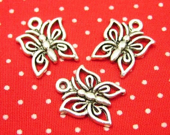 20 pcs Antique Silver Butterfly Charms 12x12mm CH1015
