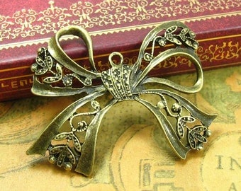 6 pcs Antique Bronze Bow Charms Ribbon Charms 43x37mm CH1117