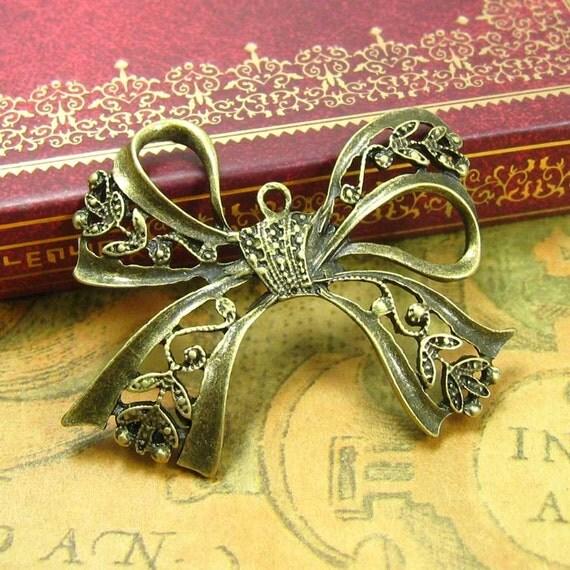 6 pcs Antique Bronze Bow Charms Ribbon Charms 43x37mm CH1117