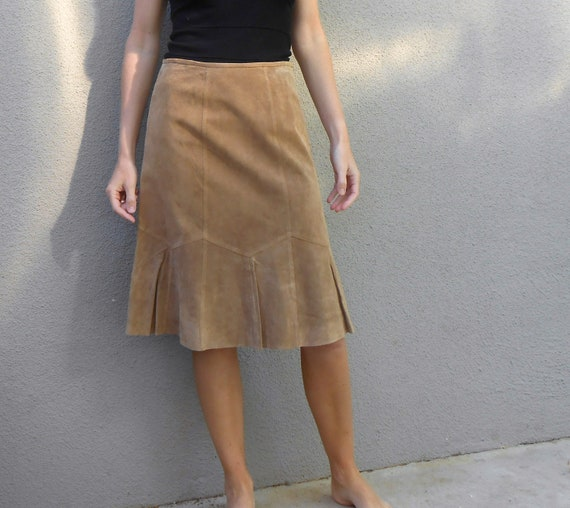vintage 80s 90s tan suede country western mini skirt / womens small medium
