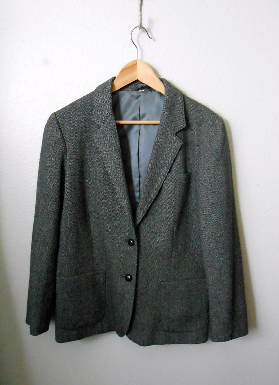 vintage 80s black tweed jacket blazer / womens large/ size 12/14