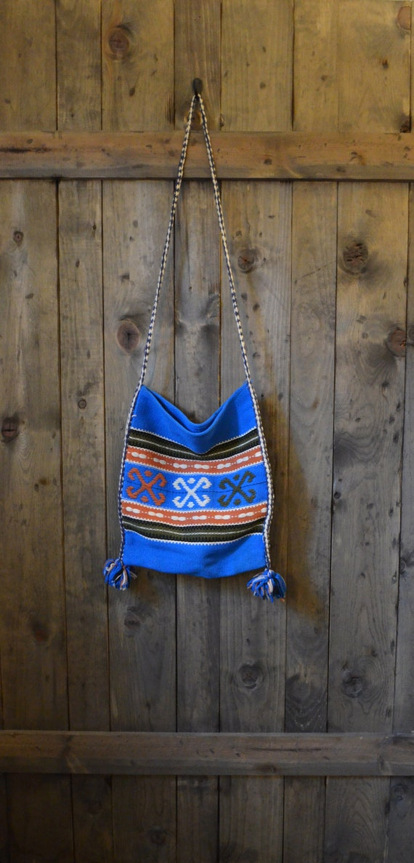 vintage 70s mexican blue boho wool shoulder bag purse