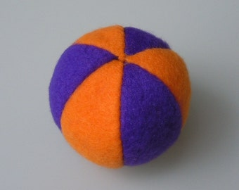 Catnip Fleece Ball Cat Toy Orange and Dark Purple