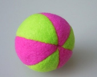 Catnip Fleece Ball Cat Toy Lime Green and Dark Pink