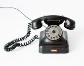 Black Old Telephone - Retro Home Office Decor - Made in USSR