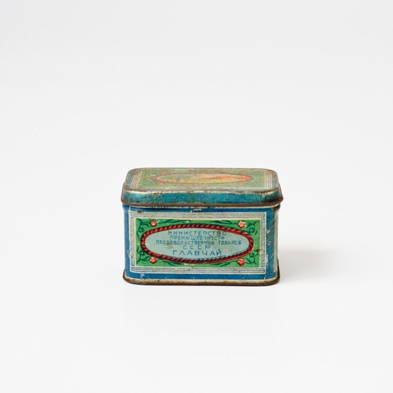 Vintage Tin Container - Russian Old Tin Box - Antique Metal Container - Storage - Home Decor