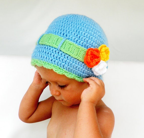Crochet children hat in blue, decorated with green crochet ribbon and flowers- Ready to Ship