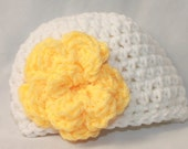 Newborn Flower Hat - Infant Flower Hat - Baby Flower Beanie - Crochet Baby Flower Hat - Newborn Crochet Hat -  White Yellow - MyStitchInTime