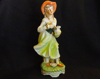Rare Porcelain Figurine Girl in ORANGE HAT and Orange Shoes