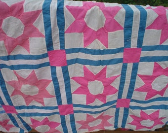 Quilt Top Pinks Blue and White Hand and Machine Stitched Vintage Home Decor Cottage Chic Lovely Bright Pinks