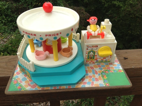Vintage Fisher Price Musical Toy Merry Go Round Vintage 1970's Carnival Little People Toys less than 30