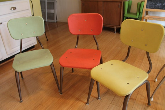 Vintage Scholar Craft Children Industrial School Chairs   Retro colors