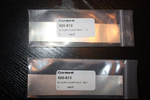 2 Silver Solder Sheets meduim and hard from contenti  NEW  Silver Price BELOW value