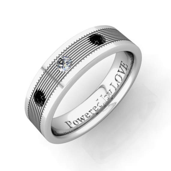 Black and White Diamond Mens Wedding Ring in 14k White Gold Band, 5mm - Save Extra 20%, Use Code: LOVE20