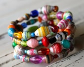 "The ""Georgie"" Memory Wire Paper Bead Bracelet"