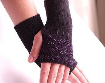 Unique soft & cozy beaded pure merino wool beaded fingerless gloves in black with beautiful purple glass beads - READY to ship