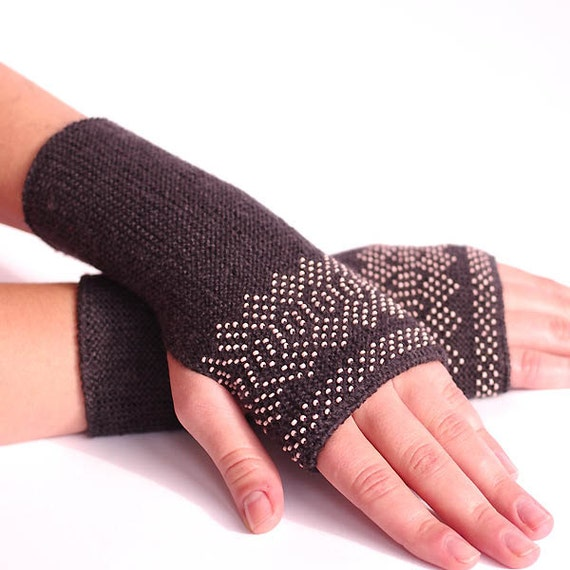 Very soft and cozy wool and acrylic blend beaded fingerless gloves/wrist warmers in dark grey with blush pink beads - READY to ship