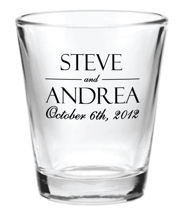144 Personalized 1.5oz Wedding Favor Glass Shot by Factory21