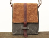 Waxed Canvas iPad Bag, Waxed Canvas iPad 3 Cross Body Bag, iPad Purse, Waxed Canvas iPad 2 Crossbody Purse with Adjustable Strap