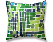 16 x 16 Green Lime Green and Navy Blue Turquoise Watercolor Squares Pillow Cover Decorator Accent Toss Throw Pillow Cover