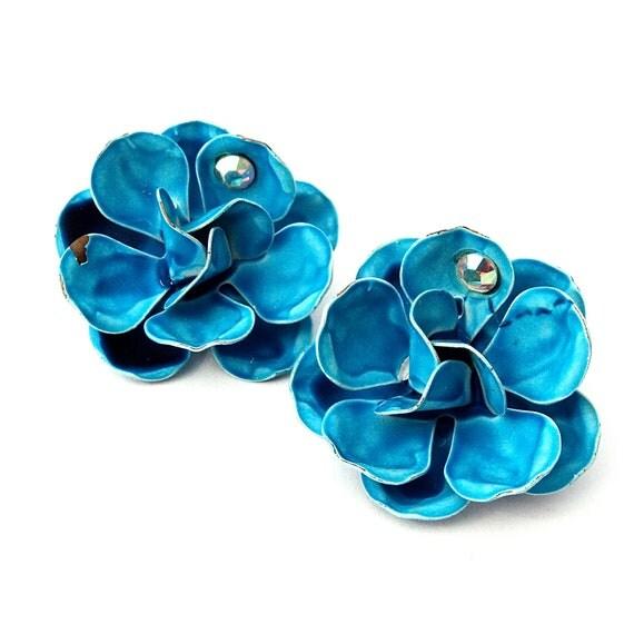 Vintage Enamel Flower Earrings 1960s Enamel Rose Earrings Blue with Rhinestone Accents DIMENSIONAL