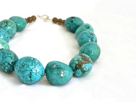 ORB. giant turquoise freeform round necklace with smoky quartz and sterling silver
