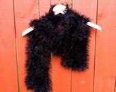 handmade BLACK FUZZY scarf