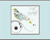 Sympathy Card - Patterned Bird