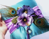 Peacock Wedding Peacocks and Pansies Ring Bearer Pillow