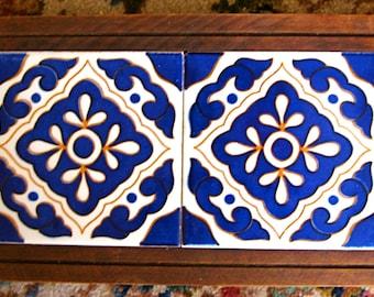 Take 20% off Folk Art Royal Blue MEXICAN Tile Double TRIVET