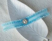 Something Blue Garter Pearl Rhinestone Crystal Ribbon Lace Garter Turquoise Blue GR015LX