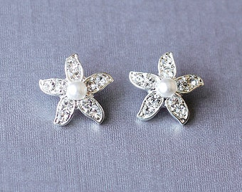 Bridal Earring Wedding Earring Rhinestone Pearl Earring Crystal Earring Starfish Stud Earring Beach Wedding Jewelry ER028LX