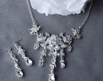 SALE Bridal Pearl Rhinestone Necklace Earrings Set Crystal Wedding Jewelry NK050LX