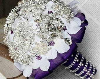 SALE Ready to Ship Vintage Bridal Brooch Bouquet Pearl Rhinestone Swarovski Crystal Silver Amethyst Dark Purple BB023LX