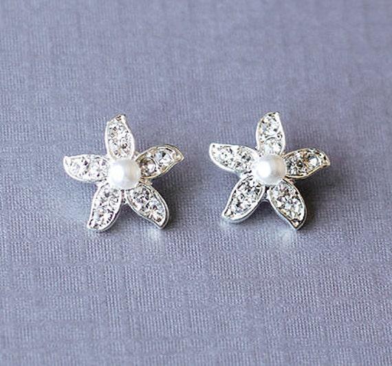 Bridal Earring Wedding Earring Rhinestone Pearl Earring Crystal Earring Starfish Stud Earring Beach Wedding Jewelry ER028LX