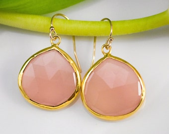 October Birthstone Jewelry - Pink Chalcedony Earrings - Bezel set earrings - Gemstone earrings - gold earrings