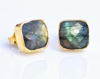 Labradorite Stud Earrings - Gemstone Studs - Cushion Cut Studs - Gold Stud Earrings - Post Earrings