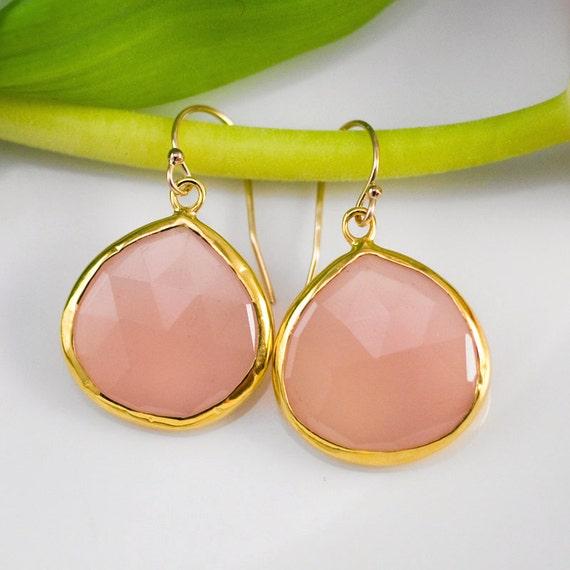 October Birthstone Jewelry - Pink Chalcedony Earrings - Bezel set earrings - Gemstone earrings - gold earrings