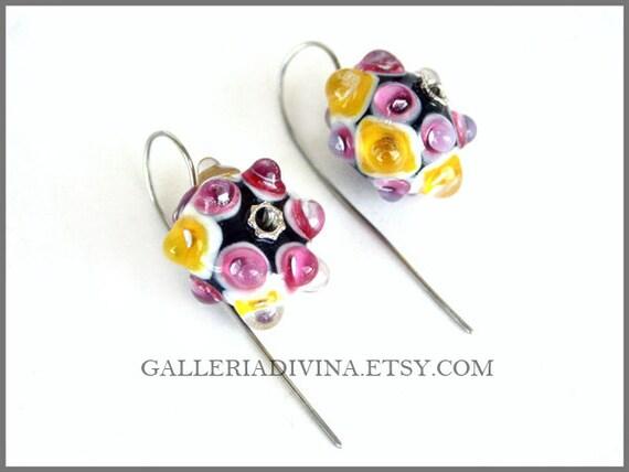 Lampwork earrings - Pink - Yellow bubbles