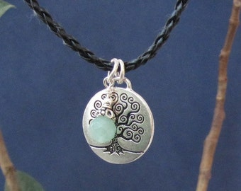 Tree of Life Pendant Leather Rope Necklace Aventurine Stone Charm, Meaningful Inspirational Jewelry Gift for Birthday Graduation, Retirement
