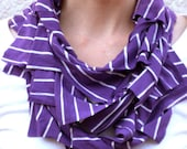 Infinity scarf, t-shirt scarf in purple with white stripes, tshirt scarf, office fashion, eco friendly