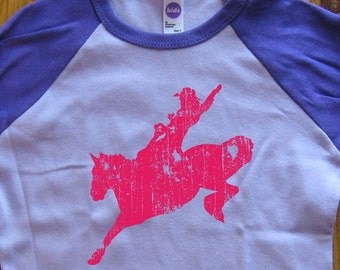 Horse Shirt - Kids Shirt - Farm Shirt Kids T Shirt - Raglan Tee Shirt - Cowgirl Shirt - Sizes 2T, 4T, 6,  - Gift Friendly