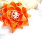 Handmade orange flower brooch pin art zipper wire beads repurposed jewelry Vigor Positive Energy