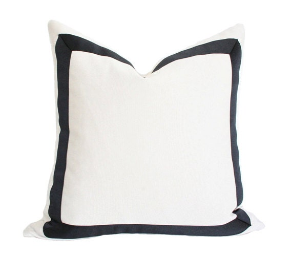 Solid White Pillow Cover with Grosgrain Ribbon (Made-to-Order)